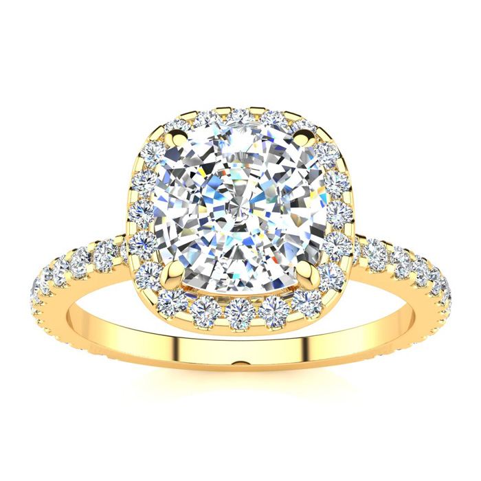 2.5 Carat Cushion Cut Halo Diamond Engagement Ring in 14K Yellow