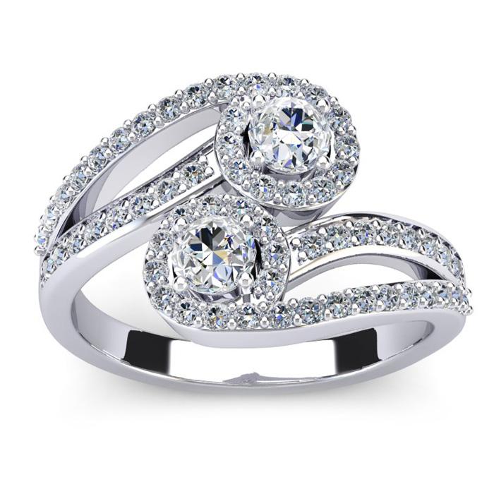 0.90 Carat Two Stone Diamond Swirl Halo Ring in 14K White Gold (4