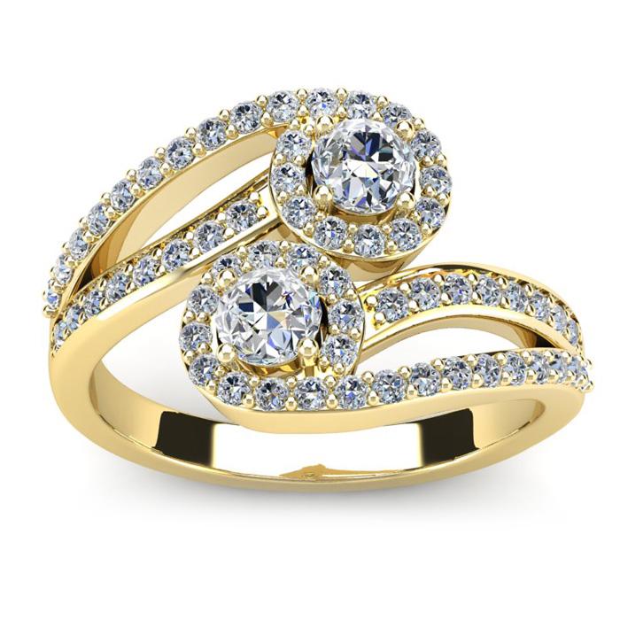 0.90 Carat Two Stone Diamond Swirl Halo Ring in 14K Yellow Gold (