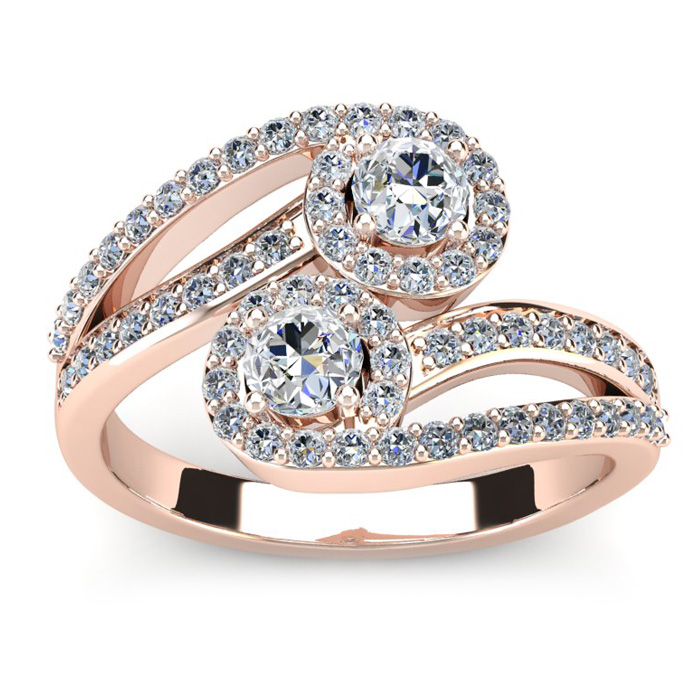 0.90 Carat Two Stone Diamond Swirl Halo Ring in 14K Rose Gold (4.1 g) (H-I, SI2-I1) by SuperJeweler