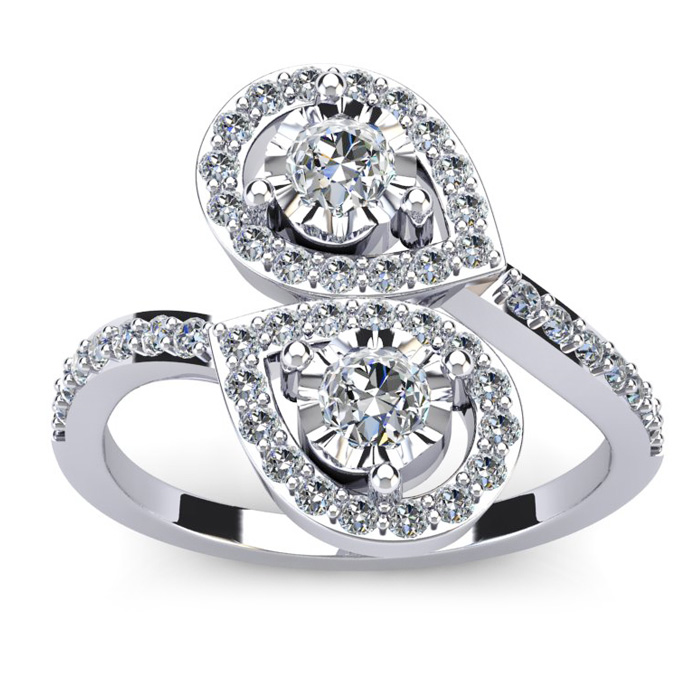 3/4 Carat Two Stone Diamond Pear-Shaped Halo Ring in 14K White Gold (4.5 g) (H-I, SI2-I1) by SuperJeweler