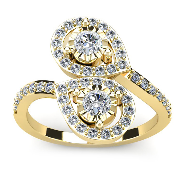 3/4 Carat Two Stone Diamond Pear-Shaped Halo Ring in 14K Yellow G