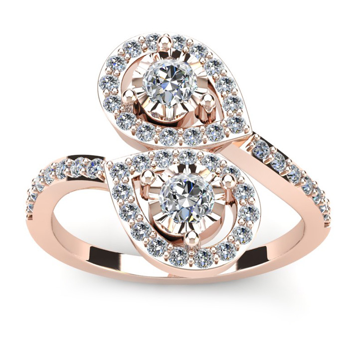 3/4 Carat Two Stone Diamond Pear-Shaped Halo Ring in 14K Rose Gol