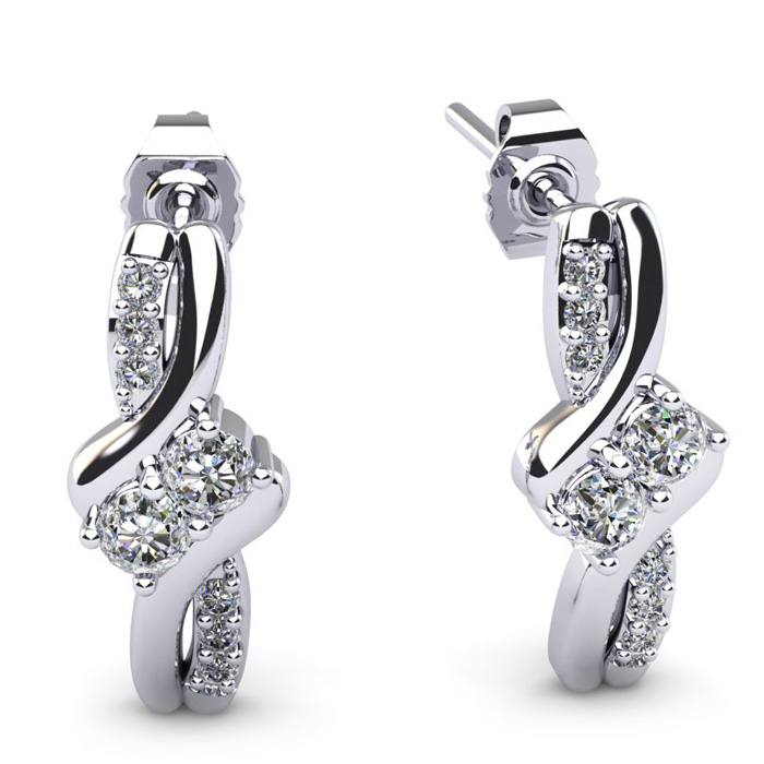 1/4 Carat Two Stone Diamond Knot Earrings in 14K White Gold (2 g)