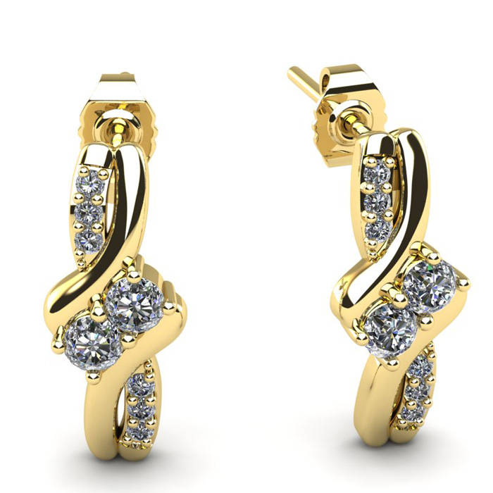 1/4 Carat Two Stone Diamond Knot Earrings in 14K Yellow Gold (2 g