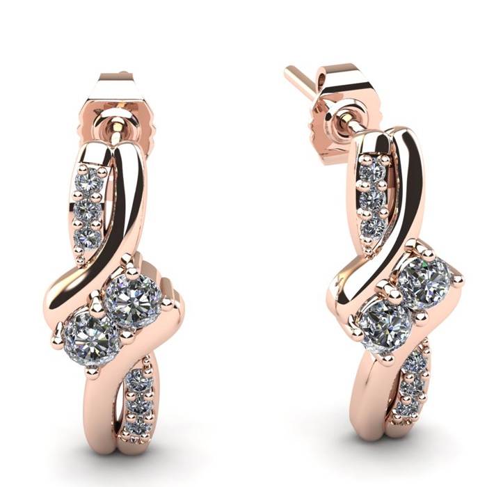 1/4 Carat Two Stone Diamond Knot Earrings in 14K Rose Gold (2 g), I/J by SuperJeweler