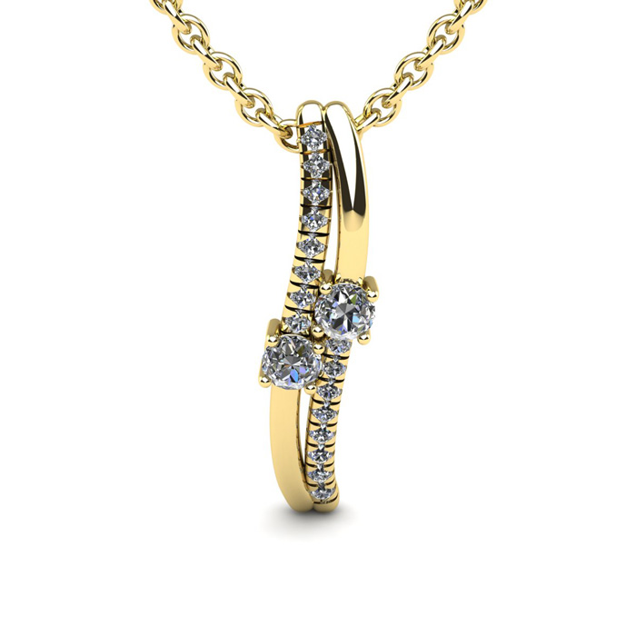 1/3 Carat Two Stone Two Diamond Curve Necklace in 14K Yellow Gold