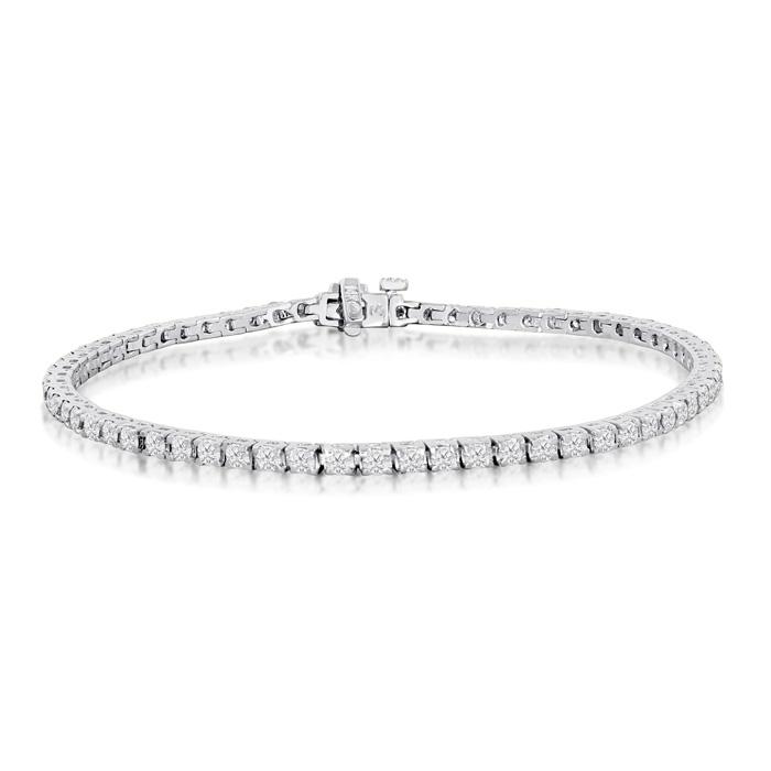 8 INCH, 3.42ct Diamond Tennis Bracelet in 14k White Gold