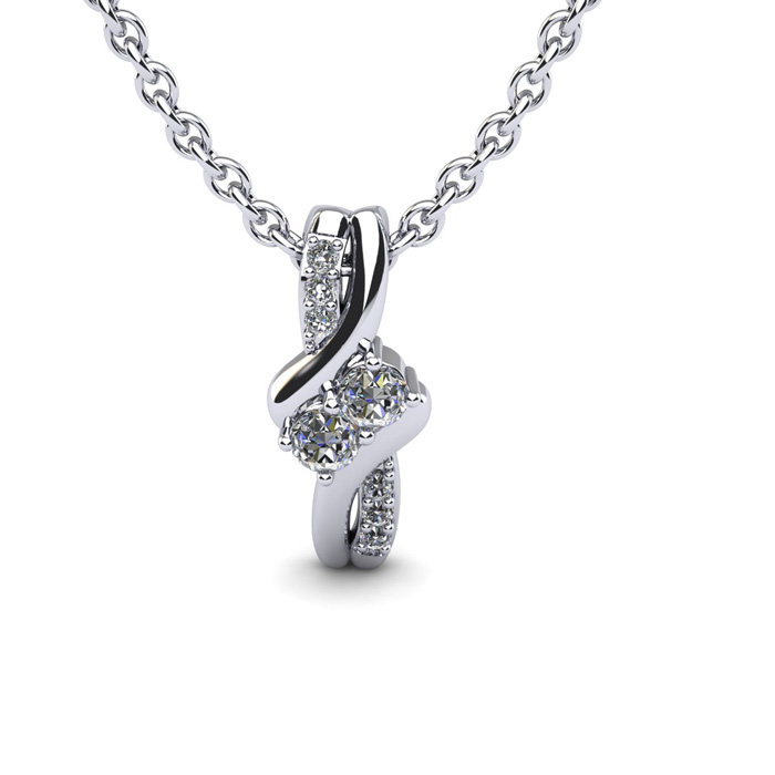 1/4 Carat Two Stone Two Diamond Knot Necklace in 14K White Gold (