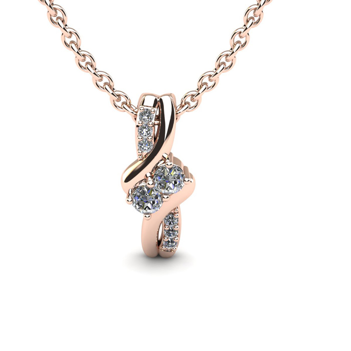 1/4 Carat Two Stone Two Diamond Knot Necklace in 14K Rose Gold (1