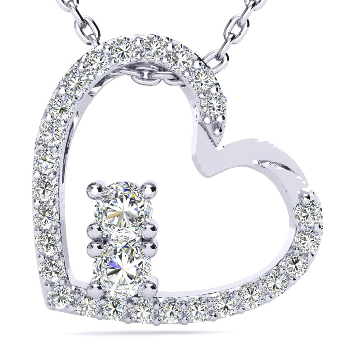 1/2 Carat Two Stone Two Diamond Heart Necklace in 14K White Gold