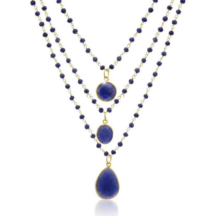 93 Carat Sapphire Quartz Triple Strand Beaded Necklace in 14K Gol