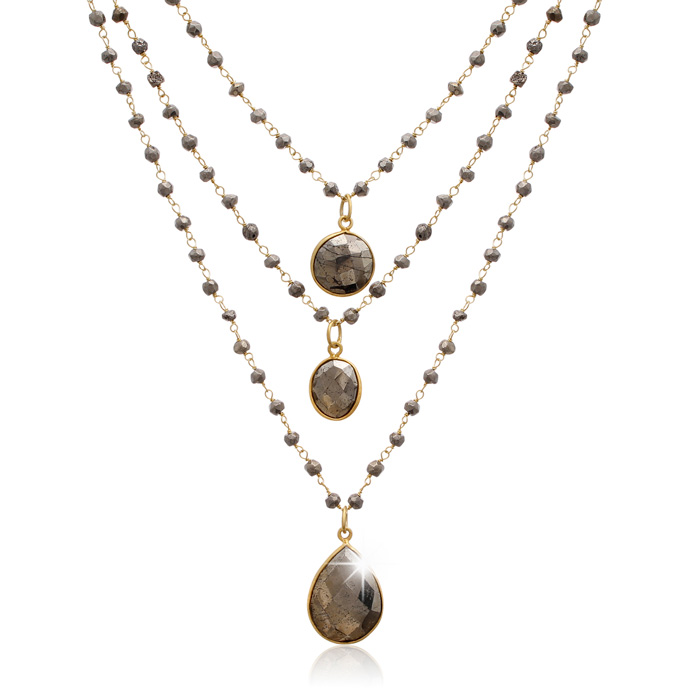 138 Carat Pyrite Triple Strand Beaded Necklace in 14K Yellow Gold