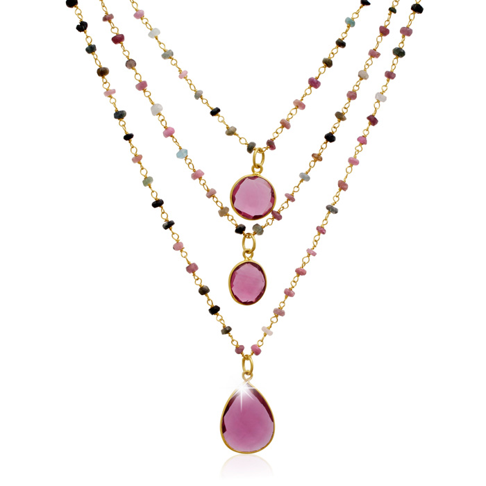 24 Carat Pink Tourmaline Triple Strand Beaded Necklace in 14K Yellow Gold Over Sterling Silver, 26 Inches by Sundar Gem