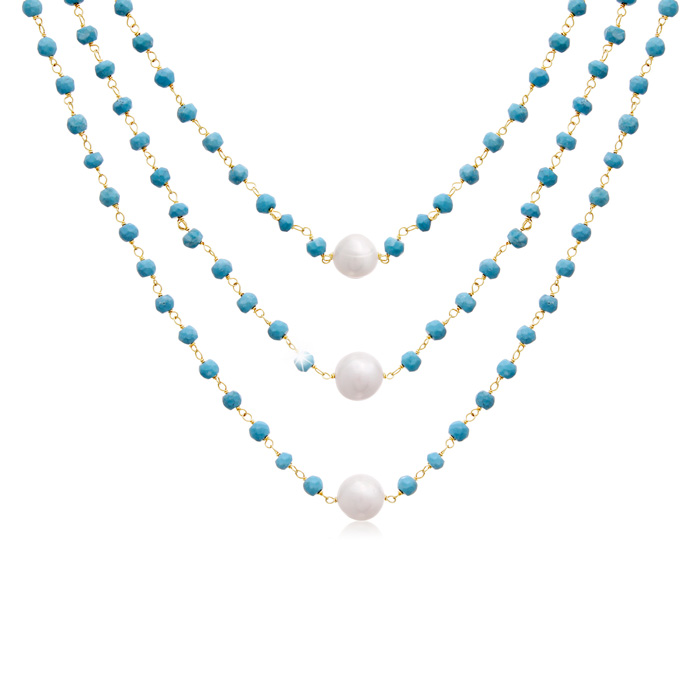 41 Carat Turquoise & Pearl Triple Strand Necklace in 14K Yellow G