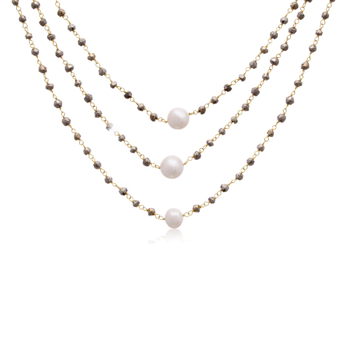 90 Carat Pyrite & Pearl Triple Strand Necklace in 14K Yellow Gold