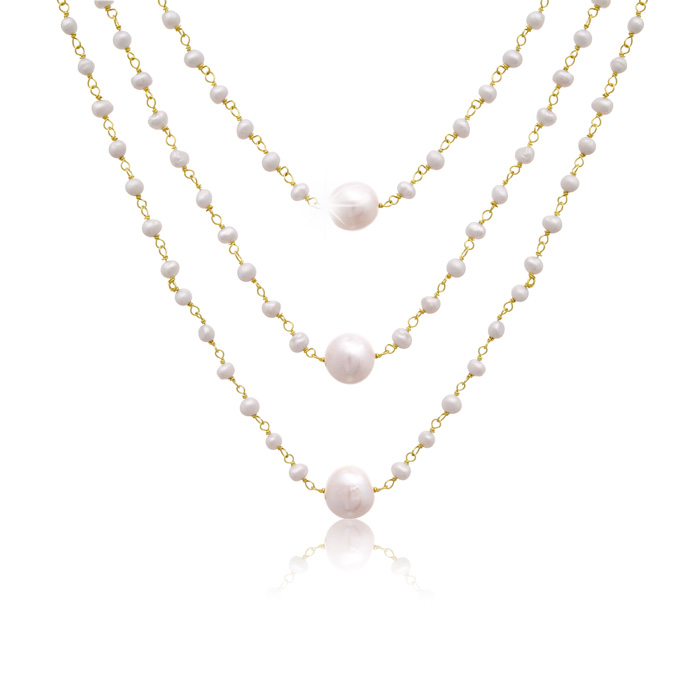 70 Carat Moonstone & Pearl Triple Strand Necklace in 14K Yellow G
