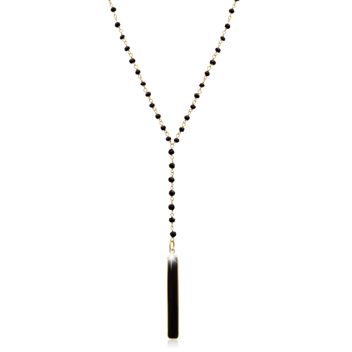 42 Carat Black Onyx Y Bar Strand Necklace in 14K Yellow Gold Over