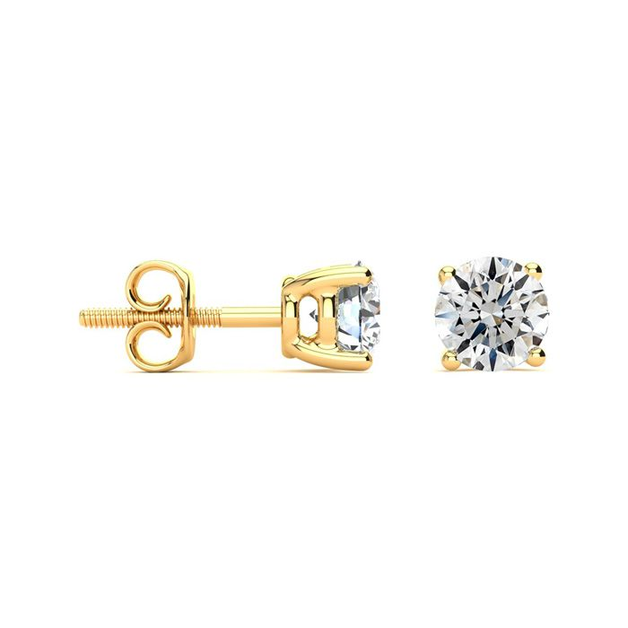 1.5 Carat Round Diamond Stud Earrings Set in 14K Yellow Gold, I/J