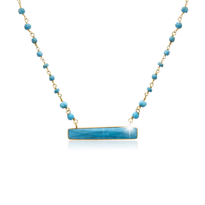 25 Carat Turquoise Bar Necklace in 14K Yellow Gold Over Sterling