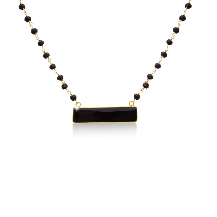36 Carat Black Onyx Bar Necklace in 14K Yellow Gold Over Sterling