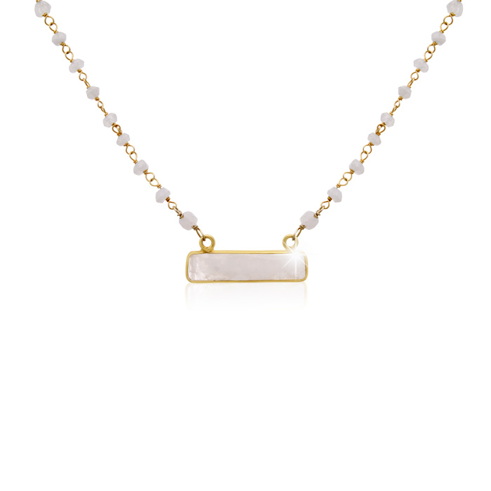 20 Carat Moonstone Bar Necklace in 14K Yellow Gold Over Sterling