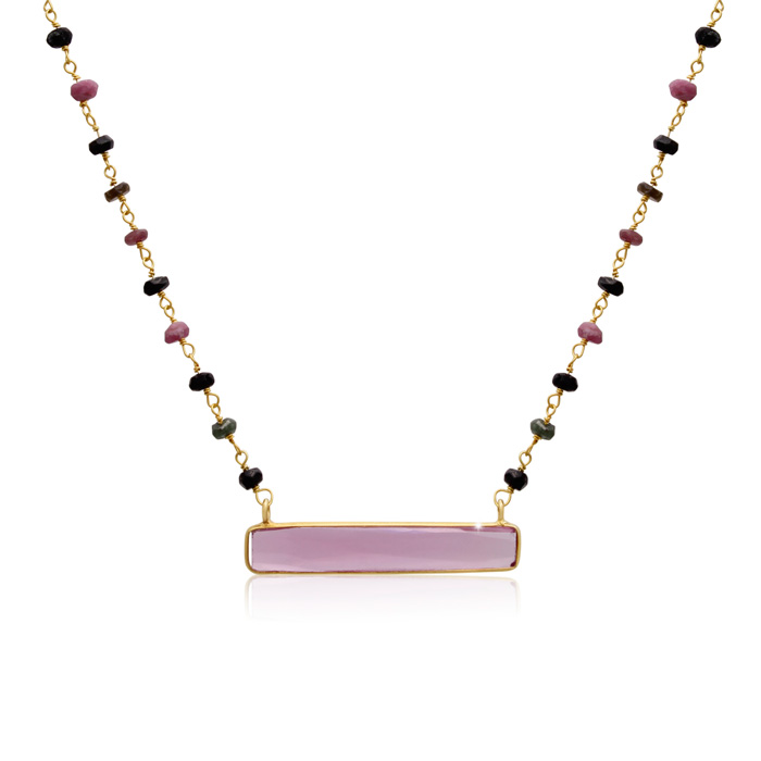 27 Carat Pink Tourmaline Bar Necklace in 14K Yellow Gold Over Ste