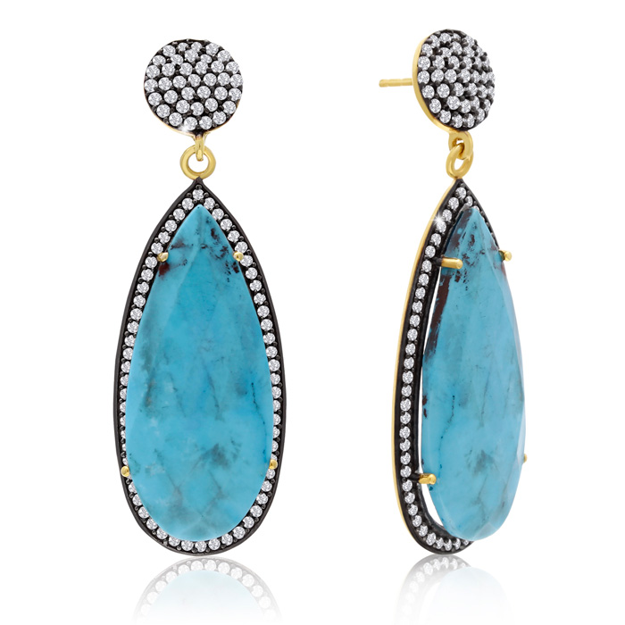 48 Carat Pear Shape Turquoise and Simulated Diamond Dangle Earrings In 14K Yellow Gold Over Sterling Silver