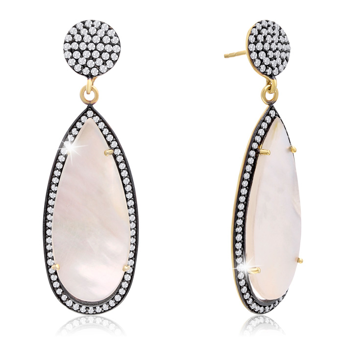 32 Carat Pear Shape Mother of Pearl & Crystal Dangle Earrings in