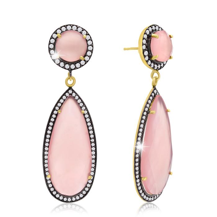 64 Carat Pear Shape Rose Quartz & Crystal Halo Dangle Earrings in