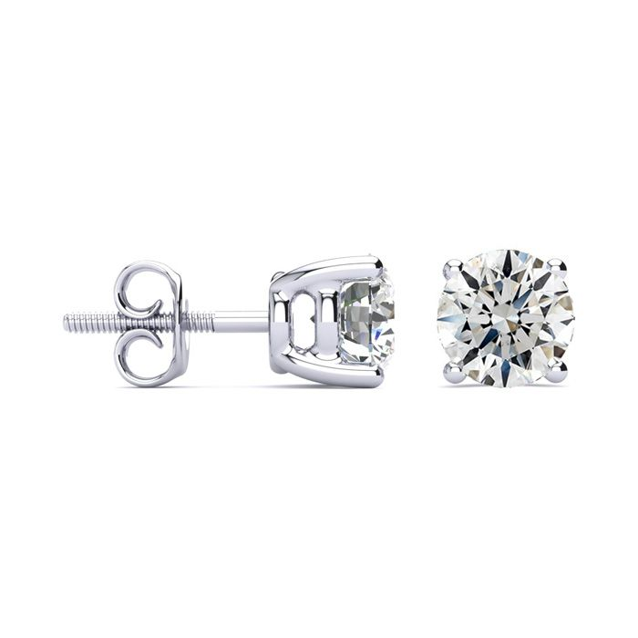 1 3/4 Carat Round Diamond Stud Earrings Set in 14k White Gold, I/