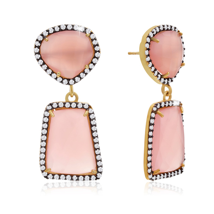 56 Carat Rose Quartz & Crystal Earrings in 14K Yellow Gold Over S