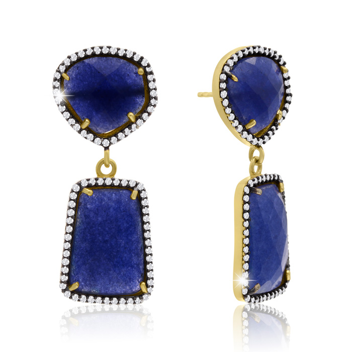 56 Carat Sapphire & Crystal Earrings in 14K Yellow Gold Over Ster