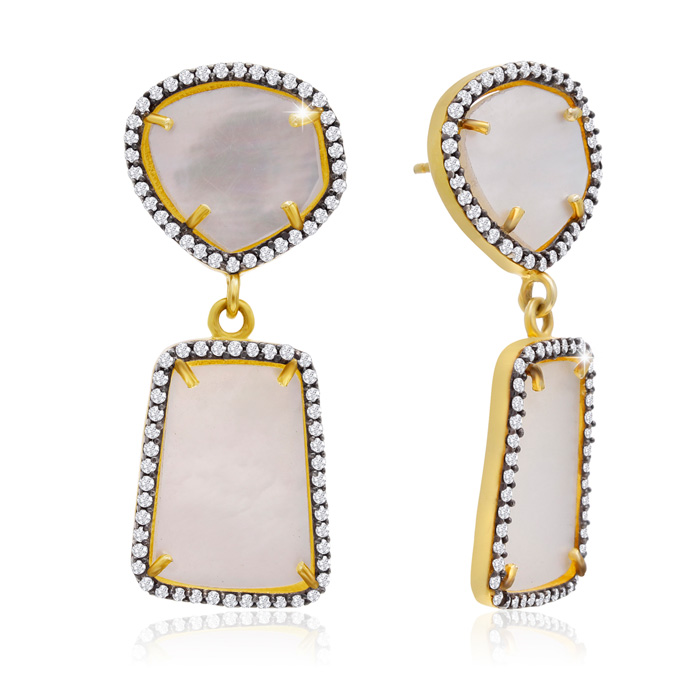 32 Carat Mother of Pearl & Crystal Earrings in 14K Yellow Gold Ov