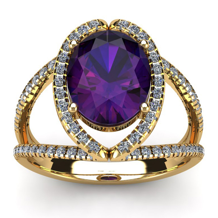 3 Carat Oval Shape Amethyst and Halo Diamond Ring In 14 Karat Yellow Gold