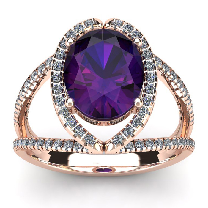 3 Carat Oval Shape Amethyst and Halo Diamond Ring In 14 Karat Rose Gold
