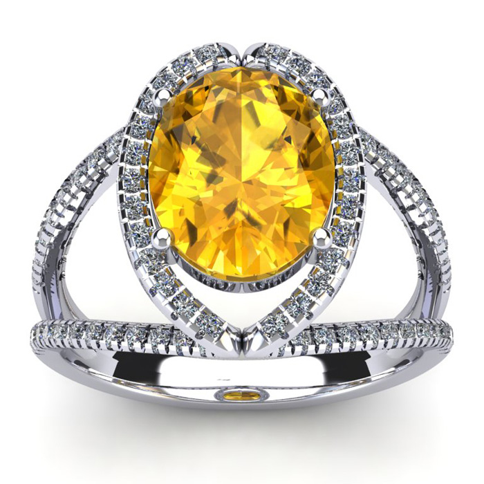 3 Carat Oval Shape Citrine & Halo Diamond Ring in 14K White Gold