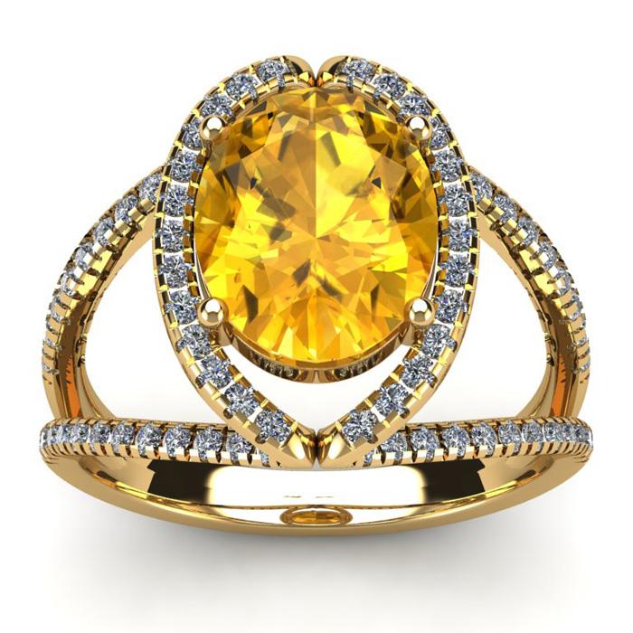 3 Carat Oval Shape Citrine & Halo Diamond Ring in 14K Yellow Gold