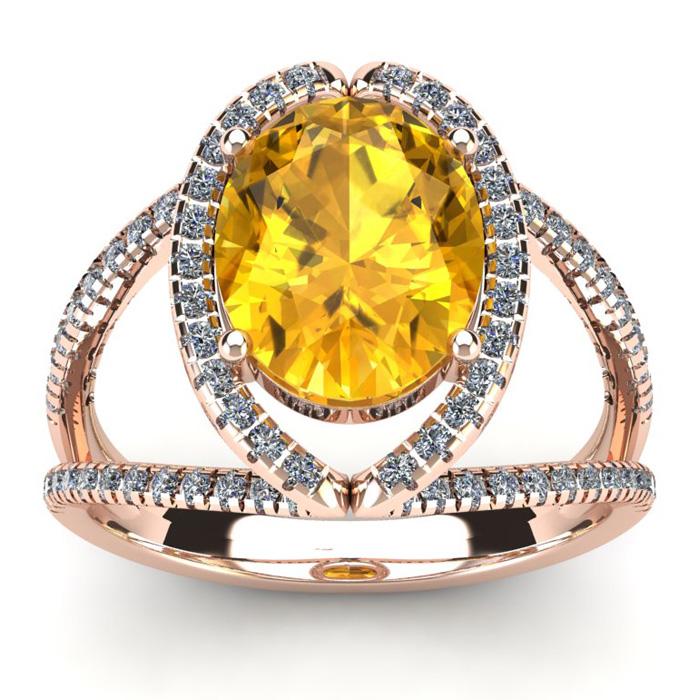 3 Carat Oval Shape Citrine & Halo Diamond Ring in 14K Rose Gold (