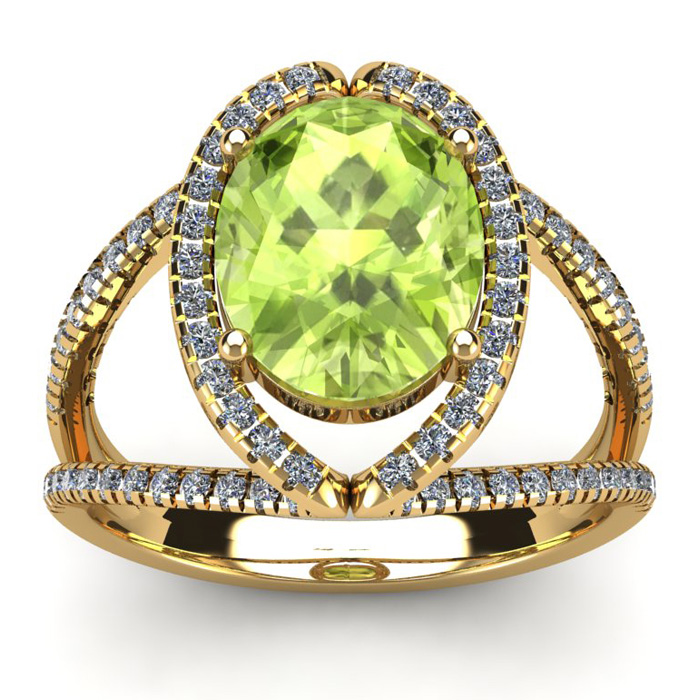 3 Carat Oval Shape Peridot & Halo Diamond Ring in 14K Yellow Gold