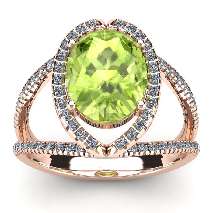 3 Carat Oval Shape Peridot and Halo Diamond Ring In 14 Karat Rose Gold