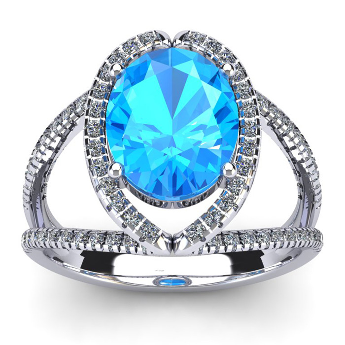 3 3/4 Carat Oval Shape Blue Topaz & Halo Diamond Ring in 14K Whit