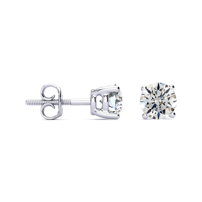 1 3/4 Carat Round Diamond Stud Earrings Set in Platinum, I/J by H