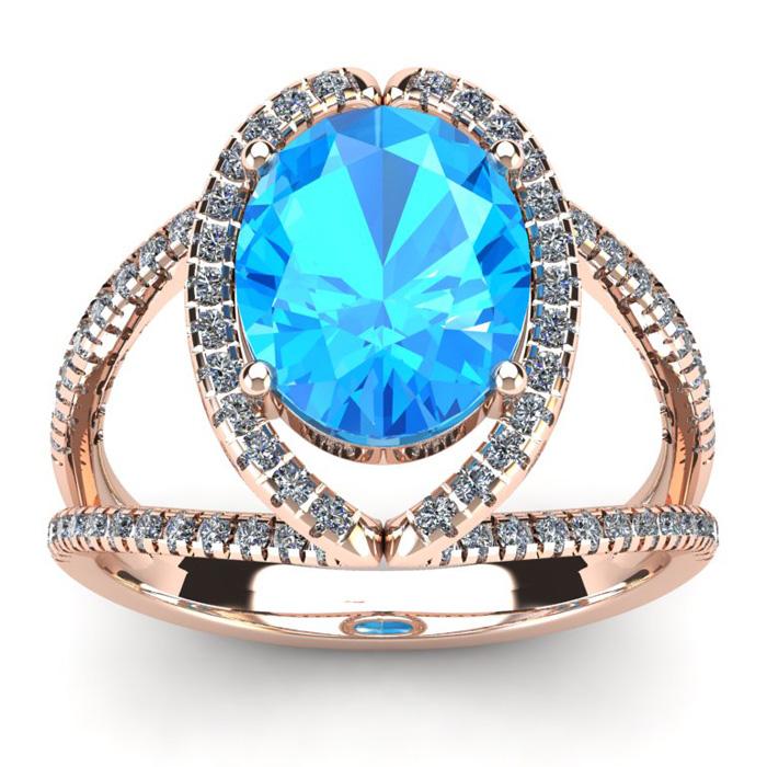 3 3/4 Carat Oval Shape Blue Topaz & Halo Diamond Ring in 14K Rose