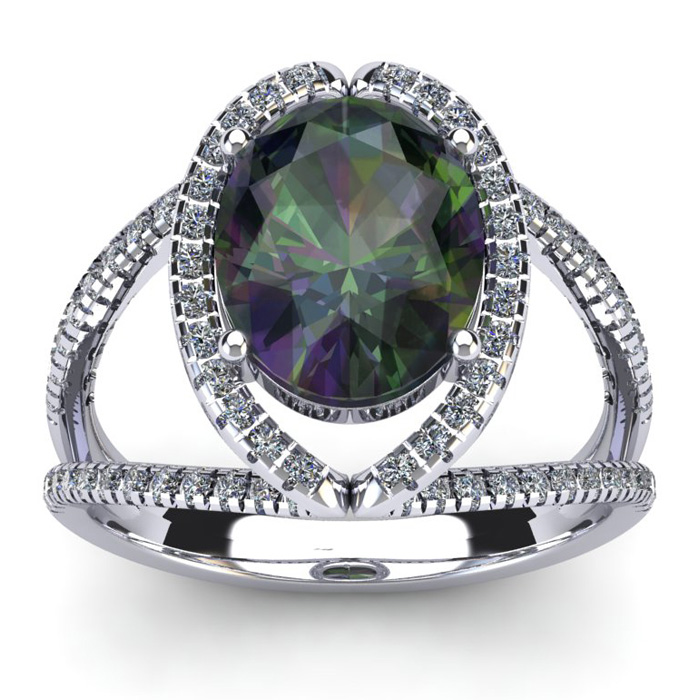 3 Carat Oval Shape Mystic Topaz and Halo Diamond Ring In 14 Karat White Gold 21022