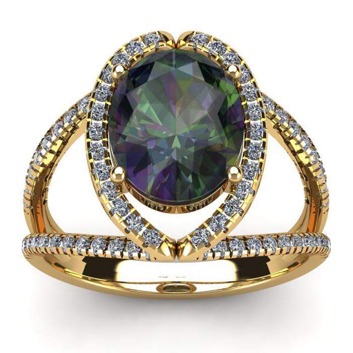 3 Carat Oval Shape Mystic Topaz & Halo Diamond Ring in 14K Yellow