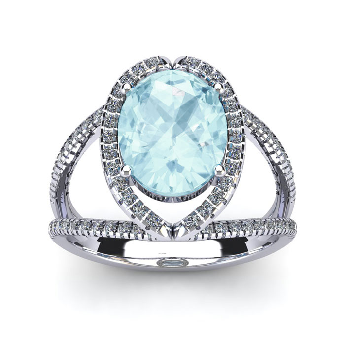 2 3/4 Carat Oval Shape Aquamarine and Halo Diamond Ring In 14 Karat White Gold