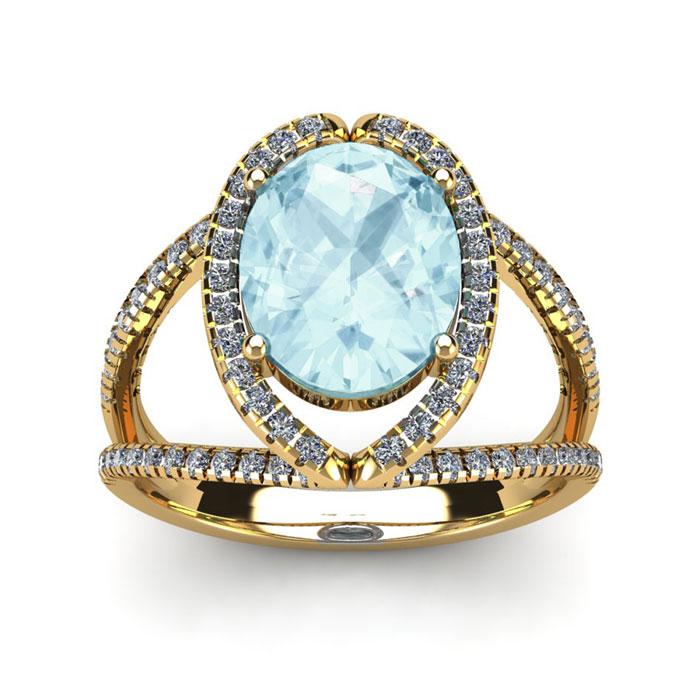 2 3/4 Carat Oval Shape Aquamarine & Halo Diamond Ring in 14K Yell