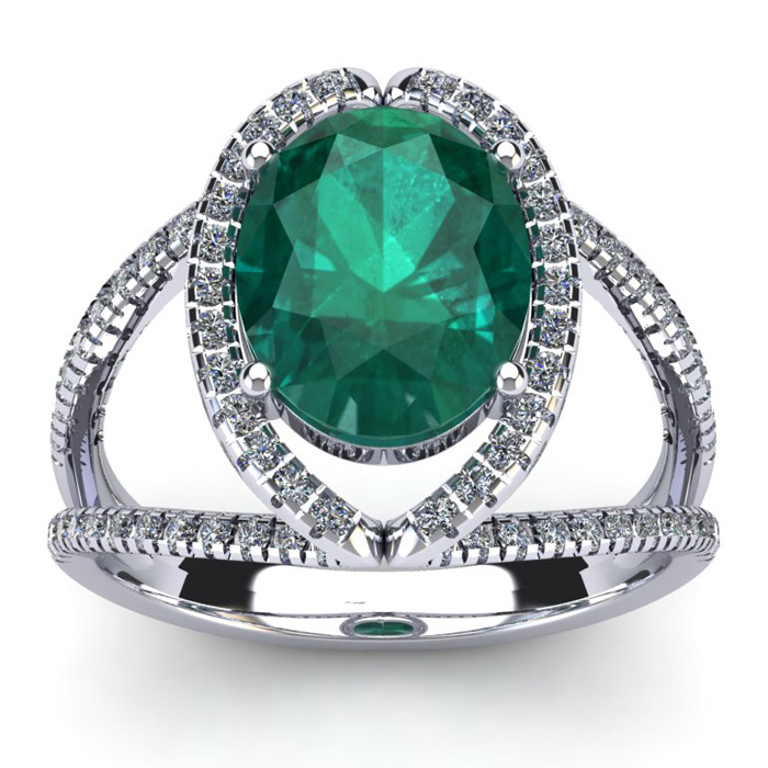 2 3/4 Carat Oval Shape Emerald Cut & Halo Diamond Ring in 14K Whi