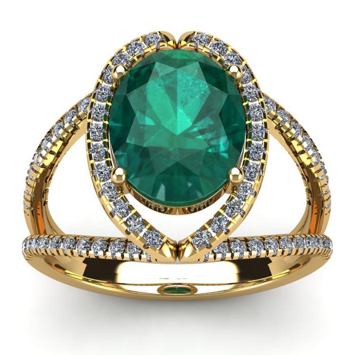 2 3/4 Carat Oval Shape Emerald Cut & Halo Diamond Ring in 14K Yel